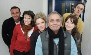 From left to right: Daniel Brocklebank, Lisa Bowerman, Sinead Keenan, Sylvester McCoy, Sarah Ovens, Tom Bell