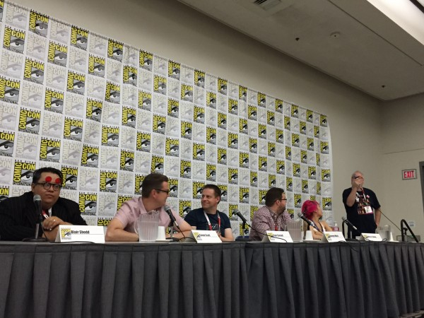 The Doctor Who Comics Panel, photo courtesy of Bleeding Cool who produced a live report as we talked.